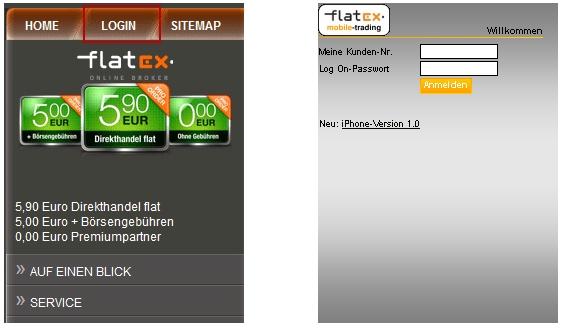 Flatex mobile Webseite anzeigen