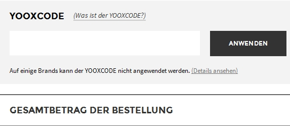 YOOX Aktionscode einlösen