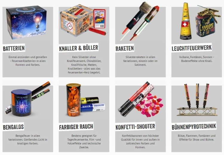 Pyroland Produktpalette