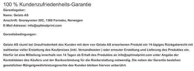 Optimalprint Garantie